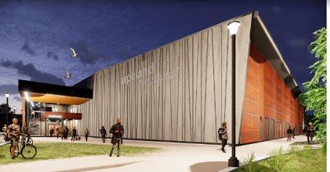 VIL HA GATEKUNST: Strand kommune inviterer kunstnarar, som kan tenka seg å smykka ut fasaden på fleirbrukshallen på Jørpeland, til konkurranse.