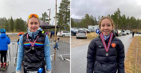 TO SØLV: Både Kaja (til venstre) og Karoline Kvalvåg Hetlelid fekk sølvmedaljer rundt halsen på Hovden i helga.