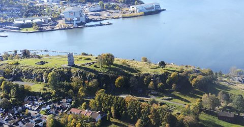 STERKT BERØRT: Vearkorridoren innebærer store inngrep i den nordre delen av Slottsfjellet. Riksantikvaren er svært skeptisk til planene for tunnel og kulvert i de historiske delene av fjellet.