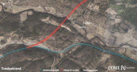 Blå strek er dagens E18, mens rød strek er ny E18 østover fra Rømyr.  Nye Veier viser her for første gang hvordan de ser for seg at den ny og eksisterende E18 skal sveises sammen i dette området.