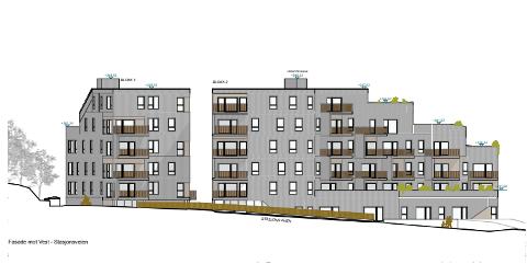 PLANLEGGER HØYT: Oxer Eiendom AS vil denne uken sende ut rammesøknad for to blokker med over 40 leiligheter i opp til seks etasjers høyde i møtepunktet jernbanelinja og Stasjonsveien. Undergangen til Tumyrhaugen blir til venstre på tegningen. Stasjonsveien i forkant.