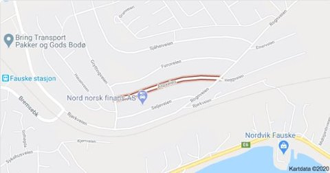 Fauske kommune melder om vannlekkasje. Foto: Google maps/skjermdump