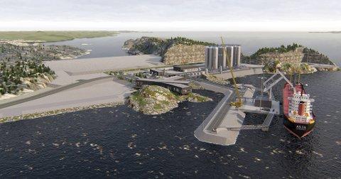 Denne illustrasjon viser hvordan CO2-mottaksanlegget på Ljøsøya i Øygarden kommune skal se ut når det står ferdig. – Prosjektet er i rute for oppstart i 2024, melder Sverre Overå, prosjektdirektør for Northern Lights.