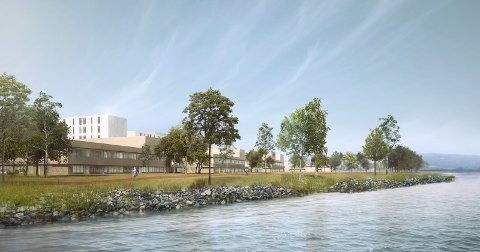 BRAKERØYA: Slik vil sykehuset på Brakerøya trolig bli seende ut fra vannet. Illustrasjon: Vestre Viken