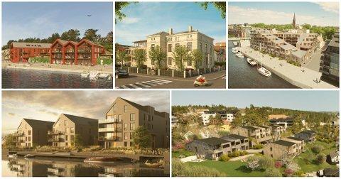Øverst fra venstre Engelsviken sjøhus, Pay-villaen, Tordenskiold brygge, Bruket brygge og Smedens hage er alle nybolig-prosjekter til salgs i kommunen nå.