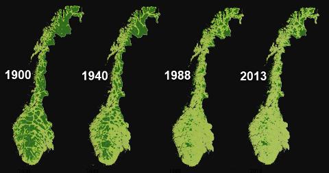 Villmarkspregede områder:  Natur som ligger fem kilometer eller med i luftlinje fra tyngre tekniske inngrep. Kilde 1900 og 1940: Magne Bruun, NOU-1986:13. Kilde 1988 og 2013: Miljødirektoratet/miljøstatus.no