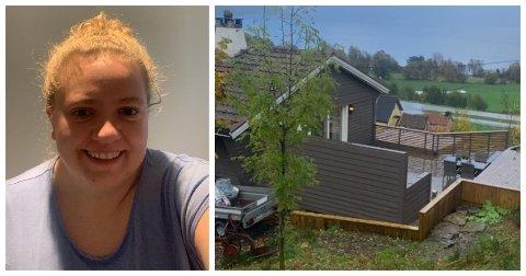 INNBROT: Frå baksida av huset til Lise Marie Dønnem ser ein verandaen der tjuvane har brote seg inn. Hendinga har sette ein støkk i Høyangringen, som no seier det kjenst ubehageleg å vere heime aleine på kveldstid.