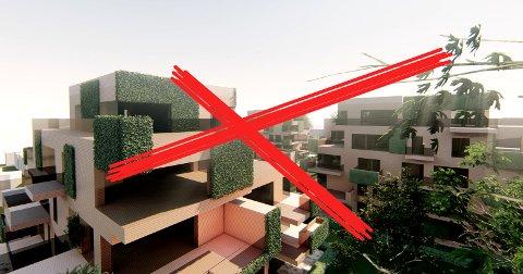 BLIR IKKE NOE AV: Planene om fire «grønne tuer» i Ynglingeveien er forkastet.