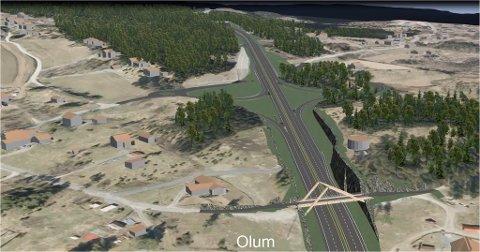 OLUM: Slik er krysset ved Olum på ny E16 planlagt.
