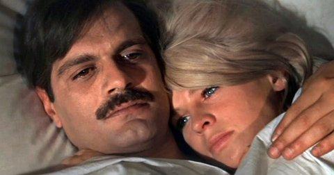 FØRST: Omar Sharif og Julie Christie i «Doktor Zhivago», som er den første filmen som ble vist på Sagatun kino.