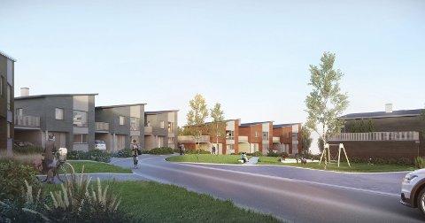 FERDIG: Slik ser Boligpartner for seg at boligområdet på Børstad vil se ut. Illustrasjon: Boligpartner