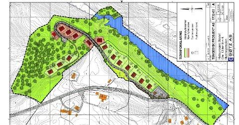 Bråstøl: Slik er den nyleg godkjente detaljreguleringsplanen for hyttefeltet på Bråstøl. Illustrasjon: Gøtz
