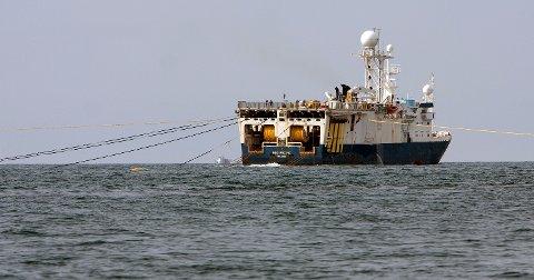 Seismikkskip av denne typen kan snart krysse grensen til Russland, om det er nødvendig for å få gjort jobben.