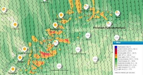 MYE VIND: Det er stiv kuling på flere steder i Finnmark. Kartet viser hvor det er mest vind. Foto: Skjermdump yr.no.