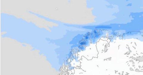 SLUDD OG SNØ; Det er lite sommervarme i lavtrykk som kommer inn over Finnmark fra torsdag, og som vil bli liggende i helgen.