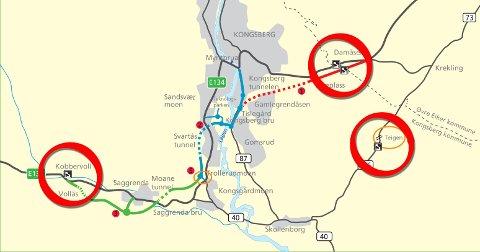 Bomstasjonene plasseres på ny og eksisterende E134 ved Damåsen, på ny E134 ved Saggrenda og på fylkesvei 287 ved Teigenundergangen.