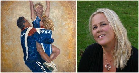 TIL VENSTRE: Line Kjønigsens maleri av scenene som utspilte seg etter VM-finaleseieren i 1993. HØYRE: Line Kjøningsen i i dag.
