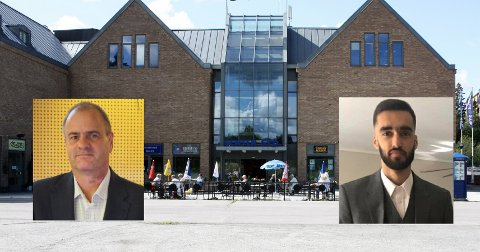 DELTE MENINGER: Lars Thorsen (t.v.) har fått tillatelse til SIAN-markering på torget på Mortensrud. Det liker ikke Mudassar Mehmood.