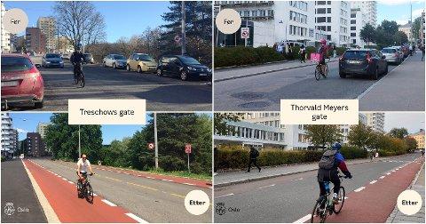 Mange gater i Oslo har forandret utseende totalt etter at det ble innført flere sykkelveier.