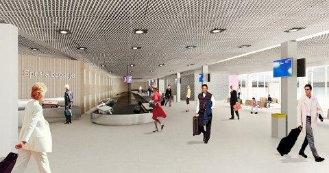 BAGASJE: I dag er kapasiteten tidvis sprengt ved bagasjehåndteringen. Utvidelsen gir ny ankomsthall med bagasjebånd for hele flyplassen.