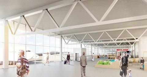 AVGANG: Slik er den nye avgangshallen til Tromsø lufthavn tenkt i 2023.