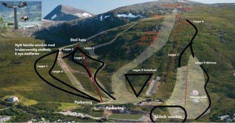 NY PLAN: Bildet illustrerer nye områder, nedfarter, ny heis og overordnet infrastruktur etter utvidelsen av Tromsø alpinpark.