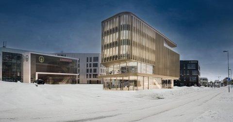 SKULPTURELT:  Nybygget er tenkt som et skulpturelt utformet bygg som åpner seg både mot Stakkevollvegen og plassen foran Eurospar. - Det er slik vi tenker at det skal se ut til slutt, sier daglig leder i Kræmer Eiendom, Petter Daae.