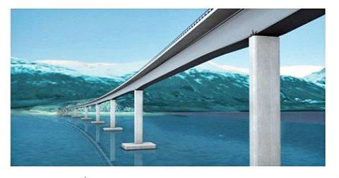 STARTER PLANLEGGINGEN: Denne brua over Ramfjord blir en del av nye E8 gjennom Ramfjord. Skissen er hentet fra den nå åtte år gamle reguleringsplanen, som Statens vegvesen skal oppdatere.