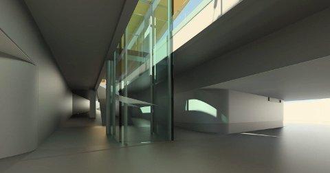 PÅ REISE: Slik vil oppgangen til plattformene se ut. Den brede gangtunnelen kommer inn fra høyre. SKISSE: JERNBANEVERKET