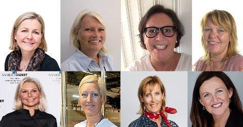 KVINNELIGE LEDERE: Det er kun åtte kvinnelige toppledere i de 100 største selskapene i Follo. Øverst fra venstre: Beate Storsul, Hilde Hesleskaug, Anniken Røed Skarpenes, Vera Harriet Syversen. Nede fra venstre: Vibece Furseth, Hege Amundsen Elvestad, Karianne Westby og Margrethe Sunde.