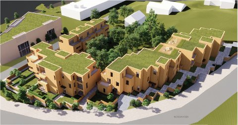 NYTT BOLIGPROSJEKT: Slik ønsker Jarle Magnar Hopland at Nygårdsveien 33 bygges ut med 40 boliger i fremtiden. Til venstre er det nye næringsbygget han foreslår i Nygårdsveien 24.