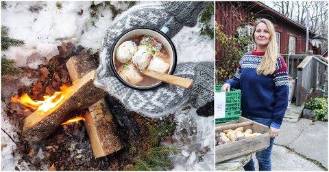 Renate Schjolden (t. h.) sitter på mange oppskrifter som kan fungere ute på tur i vinterferien.