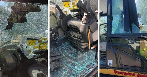 STORE VERDIER: Natt til søndag ble to gravemaskiner påført skader for flere titalls tusen kroner i Elverum. Eieren oppfordrer gjerningspersonen(e) til å melde seg.