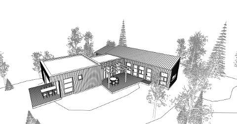 Slik skal den planlagte hytta se ut. Den skal bygges i L-form.
