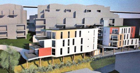 STATHELLE: I Furustadveien 4 kommer  Krabberødstrand Amfi med 6 nye leiligheter i to leilighetsbygg som ses her. Leilighetene blir liggende 4 meter fra muren til leilighetsprosjektet Solsiden Terrasse som er under oppføring ved Brotorvet.