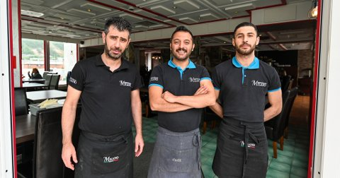 Mye jobb: Harmed Shawish, Talih Akcay (f.v.) og Nuri Tutuncu har travle dager på Milano