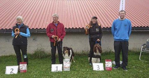 Vinnere fra agility klasse 2: Fra venstre: Unni Mork, Svein Tangestuen, Irene Rødelv og på 4. Plass Stian Tretli Brørby.