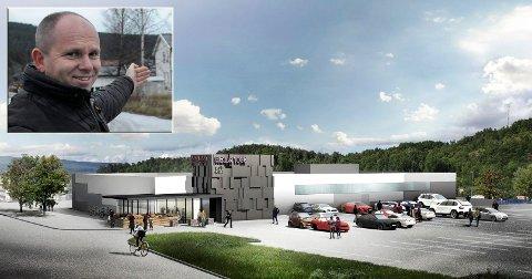 SÅNN KAN DET BLI: Det nye Rema-bygget i Jevnaker sentrum kan bli slik som denne modellen viser. Eier av den gamle rutebiltomta på Jevnaker, Johnny Karlsen lover gode parkeringsmuligheter.  (Skisse Rema 1000)