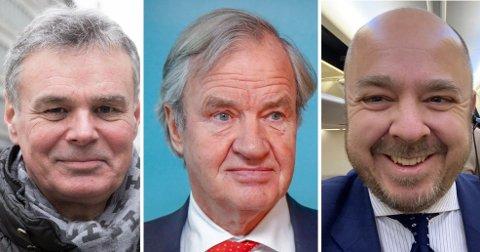 """OVERRASKET: Både flyanalytiker Hans Jørgen Elnæs (til venstre) og Christian Kamhaug (til høyre) i Flypodden ble tatt på senga av nyheten om Bjørn Kjos"""" comeback i flybransjen mandag."""