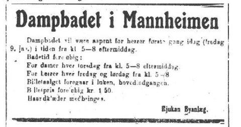 """BAD: Annonse Rjukan Dagblad 9/1 1920 «Haandklæder medbringes"""""""