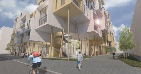 BYGGER STORT: Rundt 160 leiligheter og næringsvirksomhet planlegges i Fagerborgkvartalet. Utbyggeren opplyser at de ikke rekker å bli ferdig til 2020. ALLE SKISSER: Stein Halvorsen Arkitekter AS