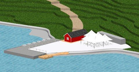 NYE TEGNINGER: Hurum Strandhotell har fjernet betongveggen med sitteplasser mot sjøen i de nye tegningene.