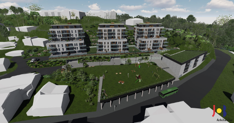 NYE BOLIGER: Her skal det bygges moderne boliger av høy kvalitet, samt noe kontor- forretningslokaler. Illustrasjon: JOB Arkitekter