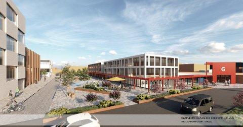 PLANER: Slik kan det nye lokalsenteret på Gulset bli. SBBL, Gulsetsenteret, Coop er blant aktørene som samabeider om planene som innebærer boliger, handel og servicefunksjoner. SKISSE: SØNDERGAARD RICKFELT