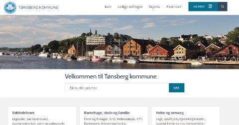 Skjermdump fra Tønsberg kommunes nettside.