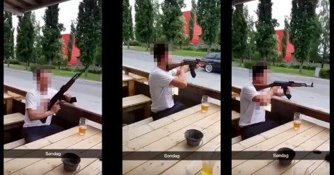 TIL RETTE IGJEN: Her peker den berusete mannen ute i gata med våpenet, som viste seg å være en plombert utgave av russisk produserte AK 47 - som gjerne omtales som Kalashnikov.