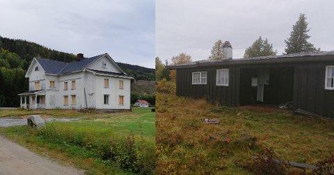BRENNES NED: Disse bygningene skal brennes ned denne uka. Våningshuset står på Tollefsrud og hytta står på Yddin.