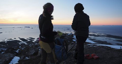 Rosa: På Sørskottinden i rosa solnedgang over Lofoten og Vestfjorden. Foto: Salten friluftsråd