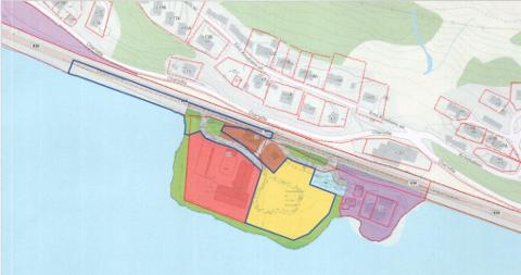 De nye boligene vil ligge i feltet som er markert gult.