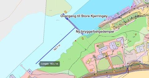 Illustrasjonen viser ny brygge med overgang til Store Kjerringøy.